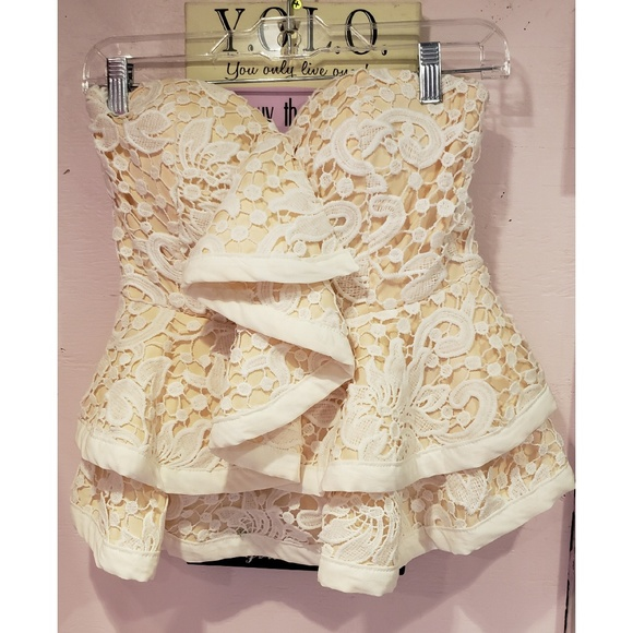 AKIRA Tops - AKIRA cream and nude lace top